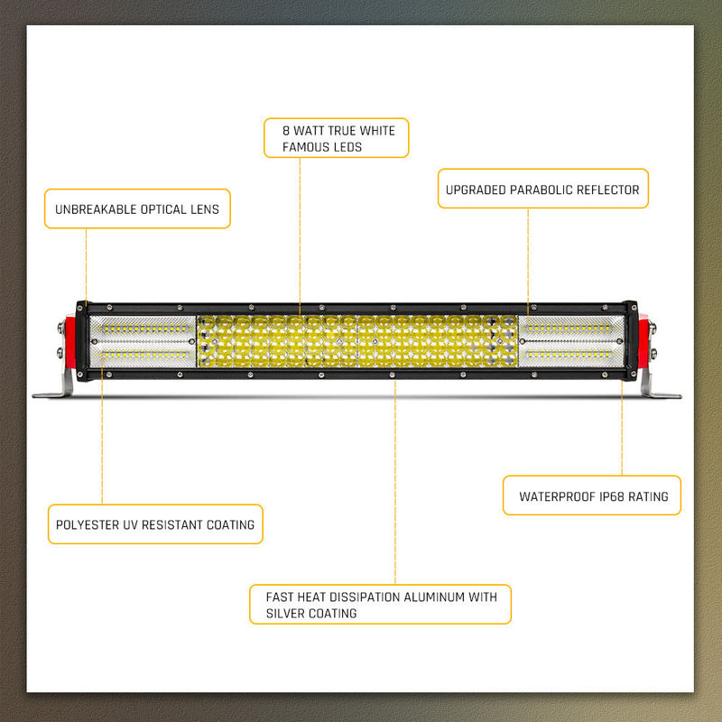"IP 68 Led Light Bar Driving Lights 22"" 32"" 42"" 50"" 52"" Easy Installation"